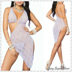 🆕Lovely Lilac Asymmetrical Lace Lingerie Gown Set